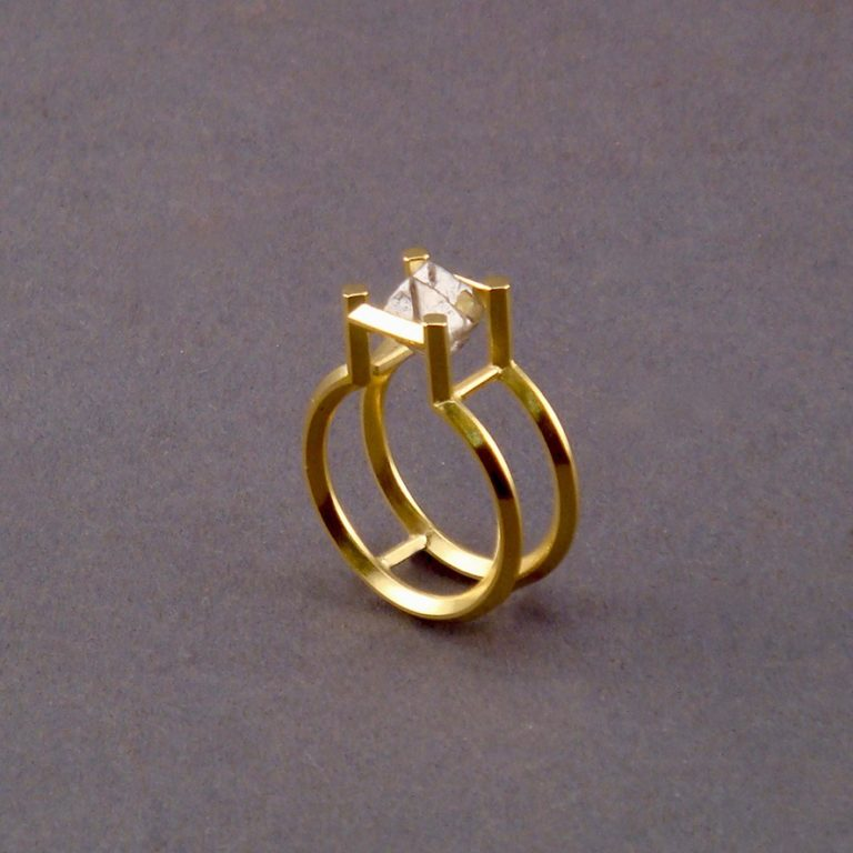 RING - GOLD MIT NATURDIAMANT, DOPPELT KRISTALLISIERT