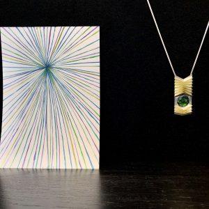 Collier - Silber, Gold, Smaragd-Trapich
